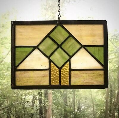 Architectural Salvage Leaded Stained Glass- Craftsman Style,Green, Cream, Orange