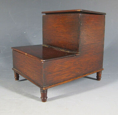 Unique! Antique Mahogany Library Step Form Footed Wood Match Holder Safe Box yqz
