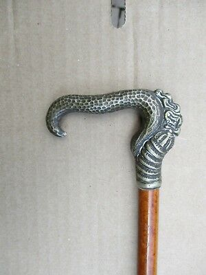 VINTAGE WOOD CANE Walking Stick SNAKE Silver Handle unique design N192 PA