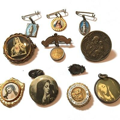 Lot of 12 Vintage Antique Religious Christian Pins Pendants Mary Jesus St Chris