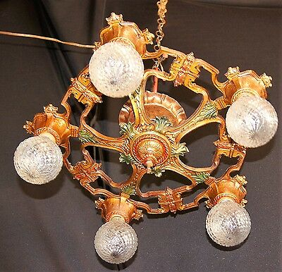Vtg Art Deco Era Victorian Cast Metal Semi - Flush Chandelier Ceiling Fixture