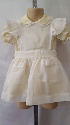 "Vtg Usa Made Toddler Girl ""miniworld"" 2 Piece Dress & Pinafore Apron Size 2T"