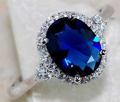 2CT Sapphire & White Topaz 925 Solid Sterling Silver Ring Jewelry Sz 6