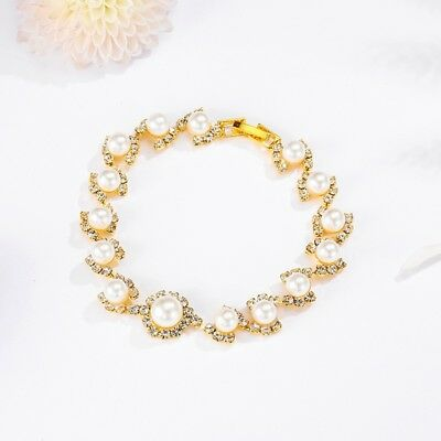 Fashion Gold Plated Women's Jewelry Crystal Heart Bangle Pearl Bracelet Hot