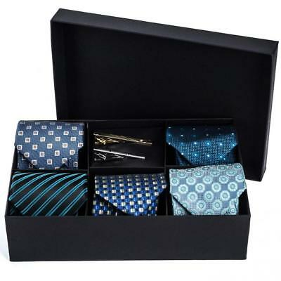 Men's Tie Set - 5 Luxury Neckties And 2 Classy Bars In Gift Box By Pointed...