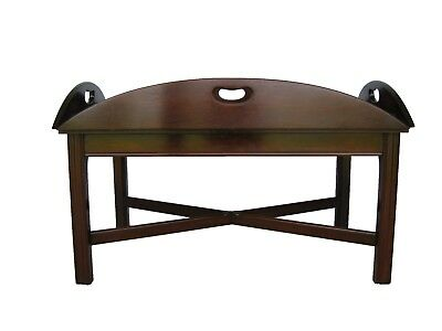 Vintage Stickley Book Matched, Flame Mahogany Inlaid Butler Coffee Tray Table