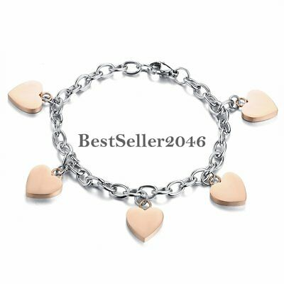 Charm Heart Women's Girls Polished Stainless Steel Link Chain Anklet Bracelet