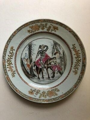 Antique Rare Chinese Export FAMILLE ROSE DON QUIXOTE Porcelain Plate