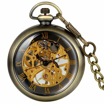 5f5443b8012 Steampunk Open Face Skeleton Men Antique Bronze Mechanical Chain Pocket  Watch