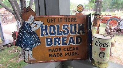 1940's Die-Cut Metal Doule Sided Holsum Bread Sign Flange Sign