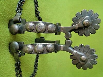 OUTSTANDING Vintage Maker Marked WJB DOUBLE Mounted Sterling Silver SPURS~NO RES