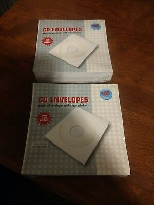 200 CD DVD White Paper Sleeve with Clear Window and Flap Envelopes [ DEAL ] USA