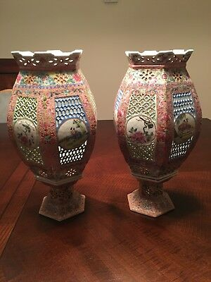 A Nice Pair of Antique Chinese Porcelain Lanterns (early 20th )