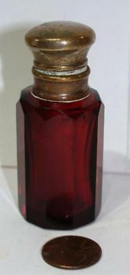 Antique Victorian Ruby Cut Glass Scent Bottle, Perfume, c. 1875