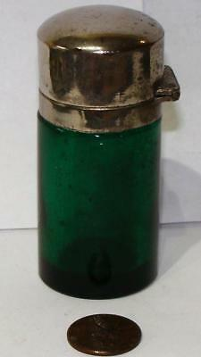 Antique Victorian Emerald Green Glass Perfume, Scent Bottle, c. 1875