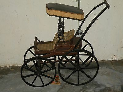 Antique Original Condition Victorian Doll Pram Baby Carriage with Canopy
