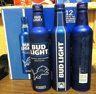 2018 Bud Light NFL Kickoff Detroit Lions Aluminum Bottle Beer Can #503274 Empty.