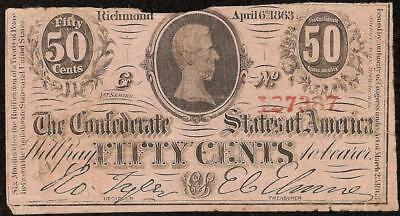 1863 Fractional 50 Cent Confederate States Note Civil War Currency Money T-63