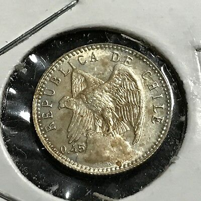 1919 Chile Silver 5 Centavos Brilliant Uncirculated Coin
