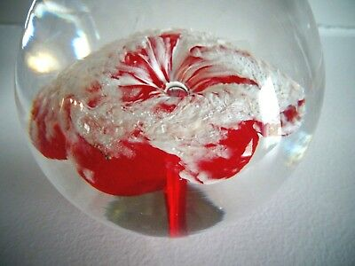 Signed A. Moretti Alessandro Studio Art Glass RED Flower Paperweight 1960's