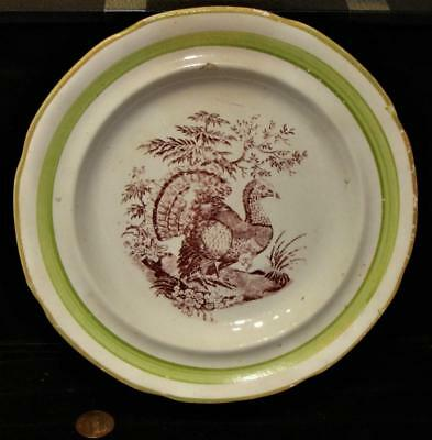 "Antique Child's Maroon Transfer ""Turkey"" Plate, Marked ""WOOD"", c. 1835"
