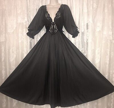 VTG Princess Design Black OLGA Nightgown Negligee Gown 3/4 Sleeves M L 94270