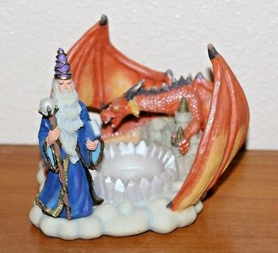 Wizard & Dragon Candle Holder mythical fantasy decor (Lot#653)