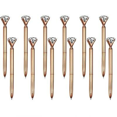 12pcs Rose gold Big Diamond Crystal Ballpoint Pens Black Ink US Stock
