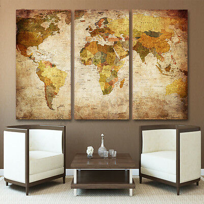 3 Panel World Map Modern Oil Painting Wall Picture Unframed Canvas Home Decor