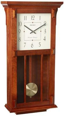 Seiko Wall Clock With Pendulum Dark Brown Case Westminster/Whittington Chime