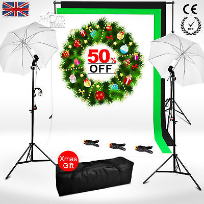 Photo Studio Continuous Lighting Kit Black White Green Backdrop Background Stand