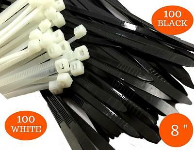 Industrial Zip Ties Heavy Duty 8 inch, Plastic Cable Black/White with 100%...