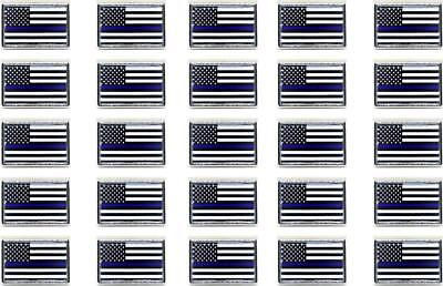 Patriot POLICE SUPPORT/TRIBUTE MEMORIAL Thin Blue Line Flag Metal Lapel Pin