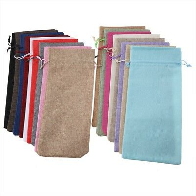 12pcs Simple Linen Fabric Wine Bag Pouch Wine Bottle Cover Drawstring Gift Bag