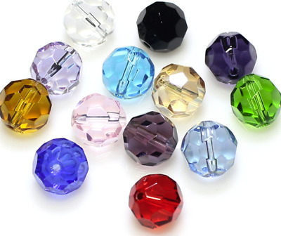 Wholesale 6mm  100pcs Multicolor Round Faceted crystal glass Loose Spacer