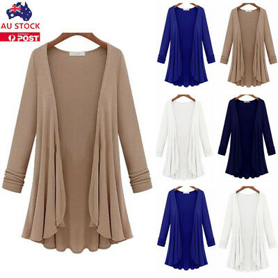 Plus Size Womens Long Sleeve Flared Cardigan Ladies Open Casual Coat Outwear
