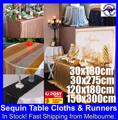 New Sequin Table Runner Tablecloth Wedding Backdrop Party Decoration Gold Silver