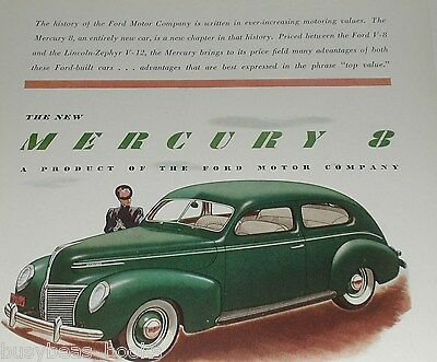 1939 Mercury advertisement, MERCURY 8 hardtop, Ford Motor Co. color art