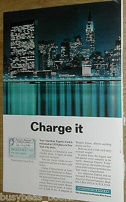 1966 American Express Company advertisement page, AM EX Credit Card, NYC skyline