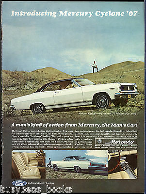 1967 MERCURY CYCLONE advertisement, white 2-door hardtop