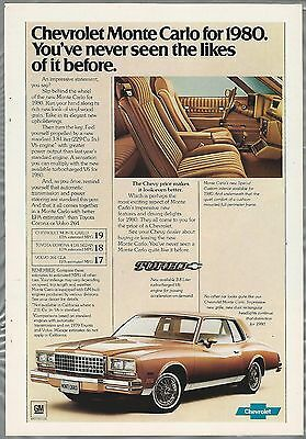 1980 Chevrolet MONTE CARLO advertisement, '80 CHEVY ad, Monte Carlo