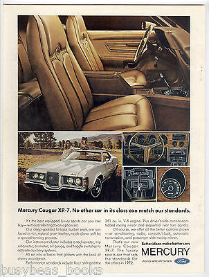 1972 Mercury COUGAR XR-7 advertisement, white 2-door