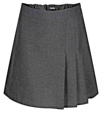 Ages 4-12 BHS Girls School Skirt Adjustable Waist Black Grey Pleated