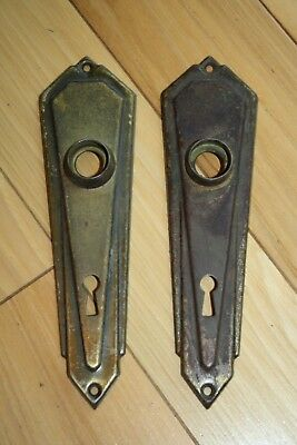 Vtg 2 Door Key Plates Art Deco Antique Skeleton Key Reclaimed Hardware Repurpose