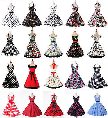 Women 50s 60s Swing Vintage Retro Floral Housewife Pinup Cute Party Dress Gown