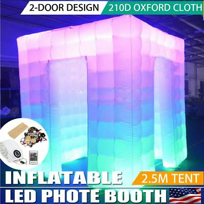 2 Door Inflatable 2.5M LED Air Pump Photo Booth Tent 7 Colors Fun Party Event US