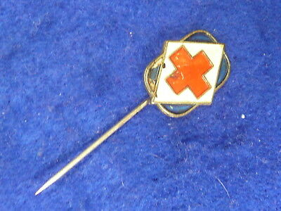 Red Cross Badge Pin Button 1950s 2/-