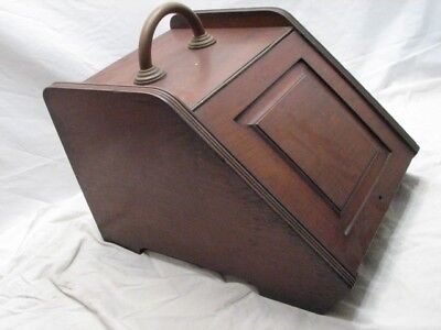 Antique Coal Scuttle Wooden Box w/Steel Liner/Brass Handle Estate Stove Tool