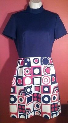 Real VINTAGE Mod Scooter DRESS by Gay Gibson Go-Go Madmen TWIGGY Sz  Sm/Med Mini