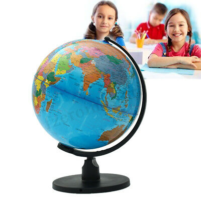 25cm Round World Countries Map Globe + Swivel Stand Inflatable Learn Science Edu